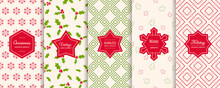 Christmas Seamless Patterns. Vector Set Of Winter Holiday Background Swatches With Modern Labels, Stickers. Abstract Textures With Snowflakes, Pine Trees, Mistletoe, Nordic Ornaments. Repeat Design
