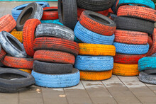 Colourful Tyres At Street