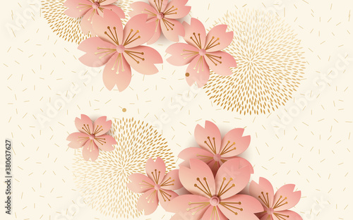 Obrazy beżowe  3d-vector-illustration-large-pink-round-abstract-flowers-on-a-beige-background