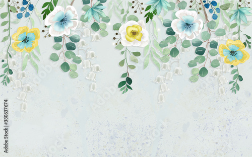 Fotografie, Obraz 3d illustration, fabulous multi-colored flowers hang from the top of a light wal