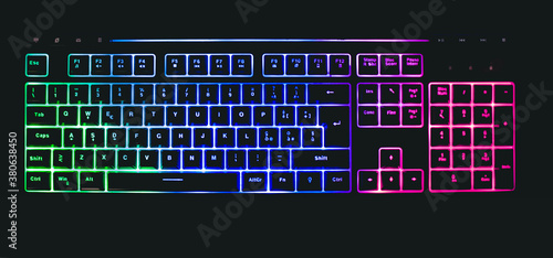 Photo mechanical keyboard with leds and mouse
