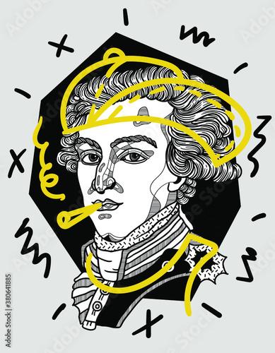 Photo Creative geometric yellow style. Marquis de Lafayette.