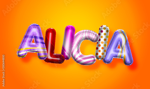 Alicia female name, colorful letter balloons background Wallpaper Mural