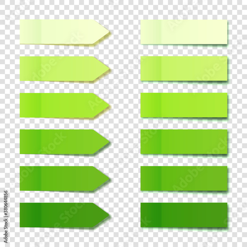 Fotografiet Realistic green sticky notes collection