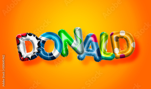 Cuadros en Lienzo Donald male name, colorful letter balloons background