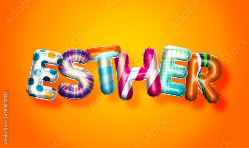 Esther female name, colorful letter balloons background Wallpaper Mural