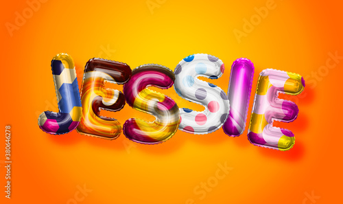 Photo Jessie female name, colorful letter balloons background