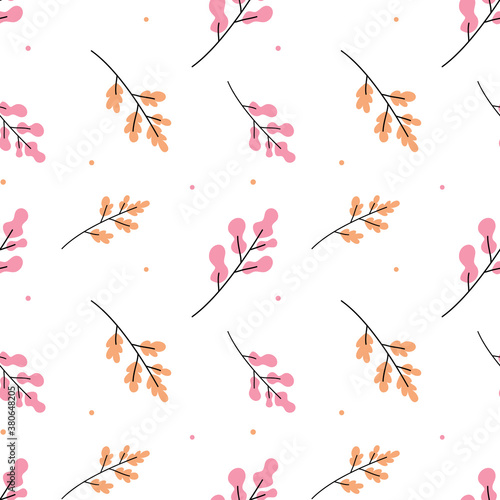 Fotografía Vector pattern illustration with beautiful twig of plant with leaves on white color background