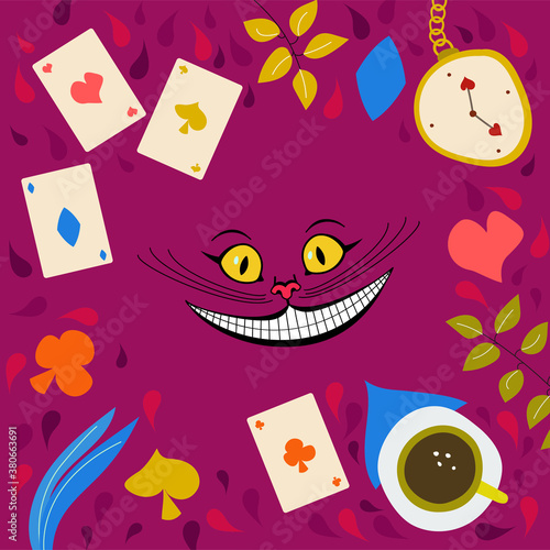 Stampa su Tela Vector illustration of a cheshire cat