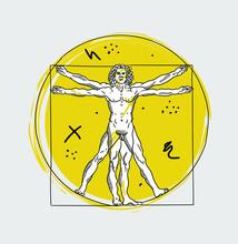 Creative Geometric Yellow Style. The Vitruvian Man By Leonardo Da Vinci.