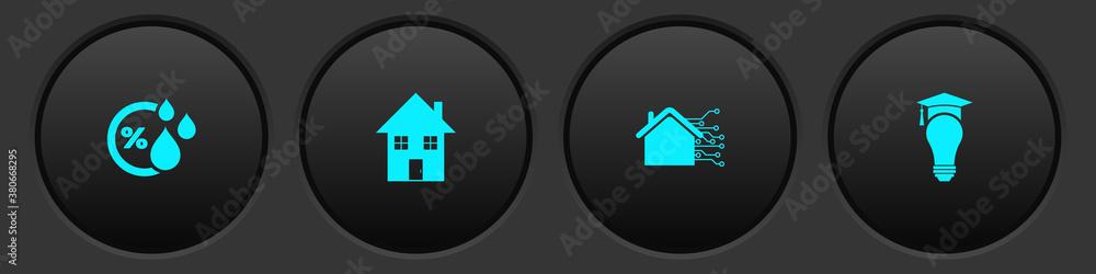 Fototapeta Set Humidity, House, Smart home and Light bulb and graduation cap icon. Vector.