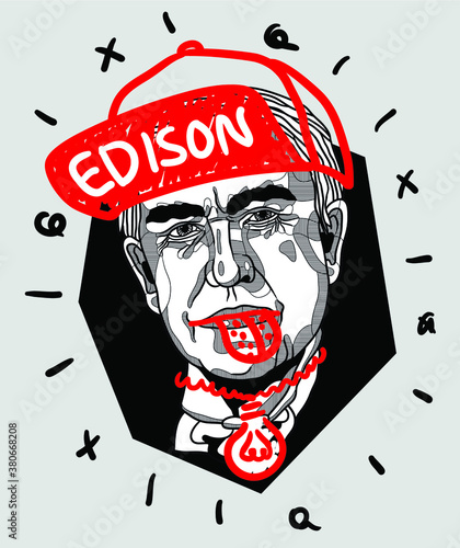 Canvastavla Crazy red style.  Thomas Edison.