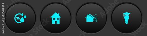 Fototapeta Set Humidity, House, Smart home and Light bulb and graduation cap icon. Vector. obraz