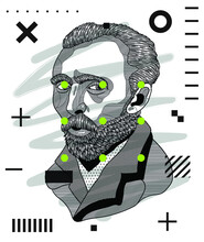 Modern Geometric Style With Dots. Vincent Van Gogh.