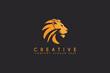 lion vector logo design isolated on black background