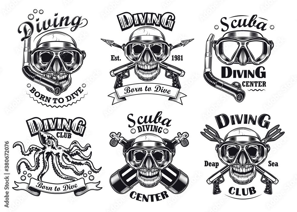 Fototapeta Monochrome diving center flat emblem set. Vintage diver helmets, scuba, octopus and skull in underwater mask isolated vector illustration collection. Design elements for diving brand mark concept