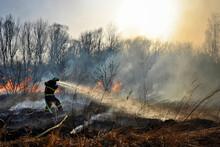 Firefighter Battling Wildfire ...