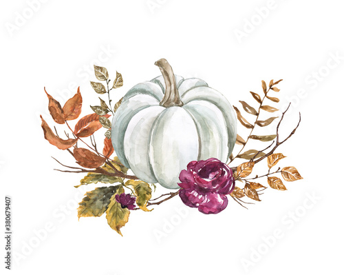 Obraz Autumn pumpkin arrangement, isolated on white background. White pumpkin, fall flowers, leaves, tree branches. Rustic style illustration. Thanksgiving card. - fototapety do salonu