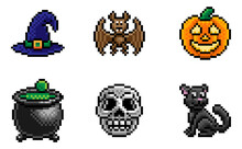 A Halloween Eight Bit Retro Video Game Style Pixel Art Icon Set