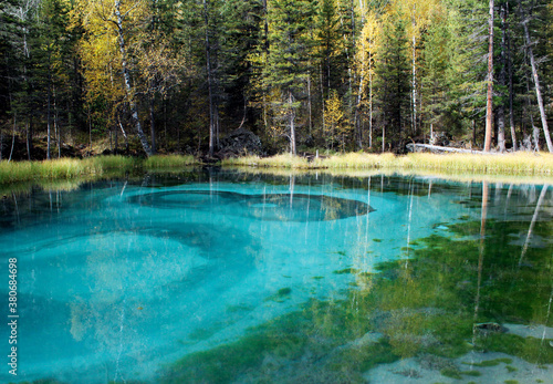 Fototapety, obrazy: Blue geyser lake in the Altai Republic in autumn
