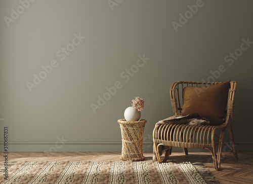 Fototapeta Minimalist home interior background, 3D render obraz