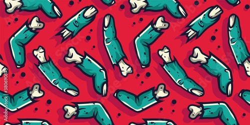 Colored seamless pattern with scary horrible zombie fingers for halloween holiday design Canvas