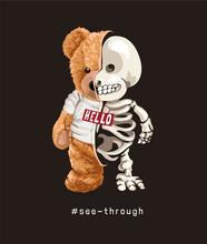 Cute Teddy Bear In T Shirt Half Skeleton On Black Background