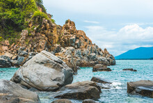 Beauty Panorama Pure Blue Lazure Empty Sea Skyline, Vivid Brown Gray Rock Shabby Cliff, Water Splash, Cumulus Cloud Sky, Mountain Island Background. Concept Sea Tourism After Pandemic, Power In Nature