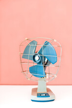 Retro Fan On White Table And Pink Wall