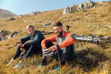 Mountain Bikers Having A Break