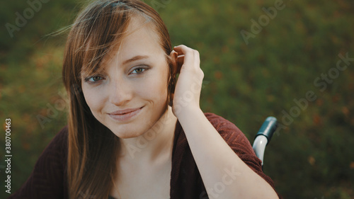 Portrait of beautiful caucasian disabled girl enjoying the breeze in the nature Canvas Print