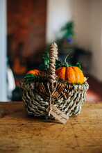 Autumn Basket With Pumpkin And A Thank You Note