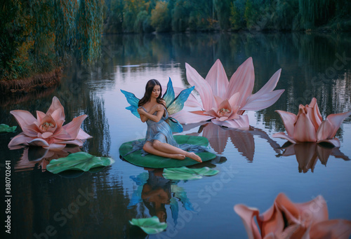 Vászonkép A beautiful woman a little fabulous fairy with butterfly wings sits on green water lily leaf