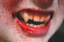 Close Up Of Vampire's Mouth An...