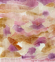 Watercolor Abstract Art Made With Little Ochre And Violet Lines