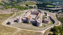 Aerial View Of The Catalan Fortress Fort De Salses In The South Of France - Medieval Castle In Salses Le Château Built By The Catalans At The End Of The 15th Century