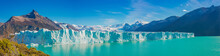 Panoramic View Over Gigantic Perito Moreno Glacier In Patagonia With Blue Sky And Turquoise Water Glacial Lagoon, South America, Argentina, At Sunny Day..