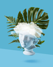 Gypsum Statue Head With Leaf.