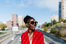Stylish Black Woman In Red Jac...