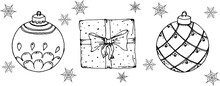 Christmas-themed Coloring Templates: Balls, Snowman, Pine Cone, Poinsettia, Burning Candles, Gift, Snowflakes. Contour Doodle, Isolated Elements On A White Background.