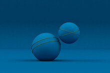 Abstract Blue Ball With Golden...