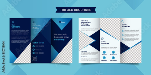 Corporate business trifold brochure template Wallpaper Mural