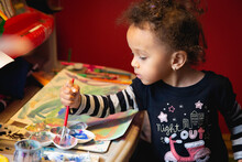 Small Toddler Child Painting A...