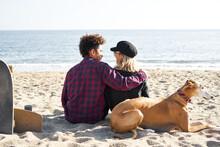 Multiracial Couple With Dog Hu...