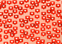 Social Network Love Icon On Pink Background