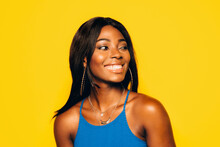 Happy Black Woman Posing Over ...