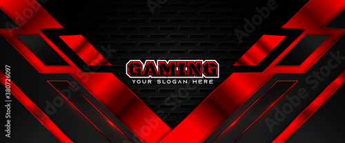 Futuristic red and black abstract gaming banner design template with metal technology concept Canvas Print