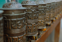 Prayer Wheels In Nepal In Kath...