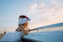 Little Santa Girl In The Car