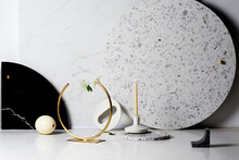 Candle Stick With White Marble...